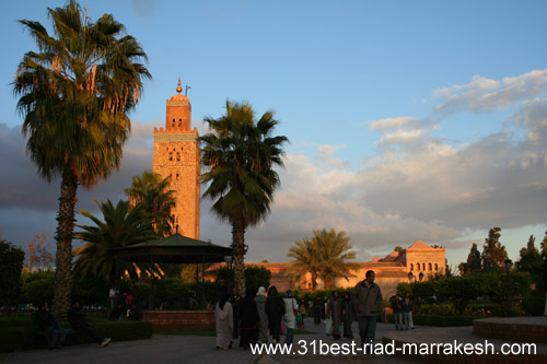 Photos of Koutoubia Mosque and Minaret Tower Monument in Marrakech